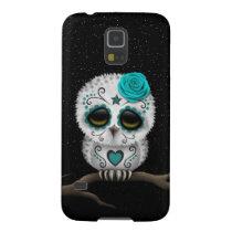 Cute Teal Day of the Dead Sugar Skull Owl Stars Galaxy S5 Case
