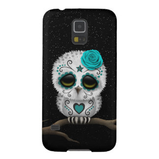 Cute Teal Day of the Dead Sugar Skull Owl Stars Galaxy S5 Case