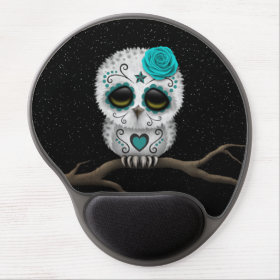 Cute Teal Day of the Dead Sugar Skull Owl Stars Gel Mouse Pad