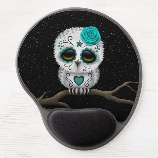 Cute Teal Day of the Dead Sugar Skull Owl Stars Gel Mouse Mats