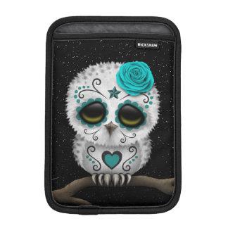 Cute Teal Day of the Dead Sugar Skull Owl Stars iPad Mini Sleeve