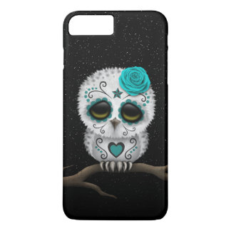 Cute Teal Day of the Dead Sugar Skull Owl Stars iPhone 8 Plus/7 Plus Case