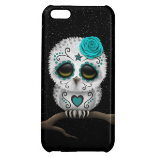 Cute Teal Day of the Dead Sugar Skull Owl Stars iPhone 5C Cover