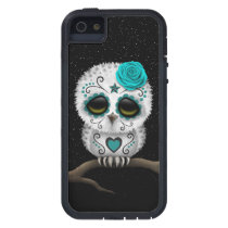 Cute Teal Day of the Dead Sugar Skull Owl Stars iPhone SE/5/5s Case