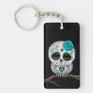 Cute Teal Day of the Dead Sugar Skull Owl Stars Keychain