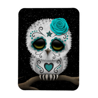 Cute Teal Day of the Dead Sugar Skull Owl Stars Magnet