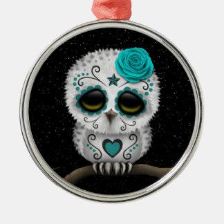Cute Teal Day of the Dead Sugar Skull Owl Stars Metal Ornament