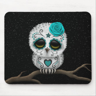 Cute Teal Day of the Dead Sugar Skull Owl Stars Mouse Pad