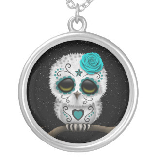 Cute Teal Day of the Dead Sugar Skull Owl Stars Round Pendant Necklace