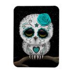 Cute Teal Day of the Dead Sugar Skull Owl Stars Rectangular Photo Magnet