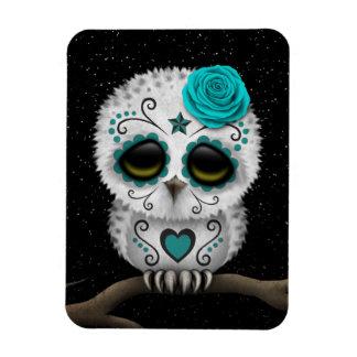 Cute Teal Day of the Dead Sugar Skull Owl Stars Rectangular Photo Magnet