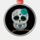 Cute Teal Day of the Dead Sugar Skull Owl Stars Round Metal Christmas Ornament