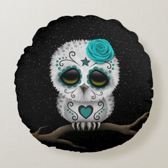 Cute Teal Day Of The Dead Sugar Skull Owl Stars Round