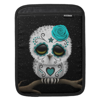 Cute Teal Day of the Dead Sugar Skull Owl Stars Sleeve For iPads