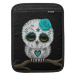 Cute Teal Day of the Dead Sugar Skull Owl Stars Sleeves For iPads