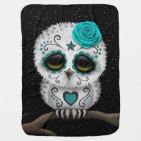 Cute Teal Day of the Dead Sugar Skull Owl Stars