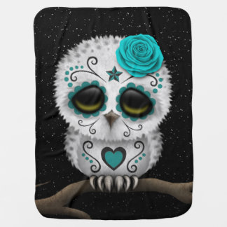 Cute Teal Day of the Dead Sugar Skull Owl Stars Stroller Blankets