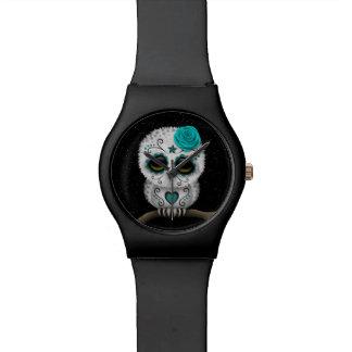 Cute Teal Day of the Dead Sugar Skull Owl Stars Wrist Watch
