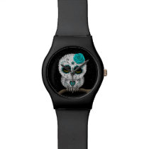 Cute Teal Day of the Dead Sugar Skull Owl Stars Wristwatch