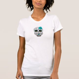Cute Teal Day of the Dead Sugar Skull Owl T-Shirt