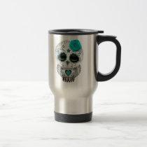 Cute Teal Day of the Dead Sugar Skull Owl Travel Mug