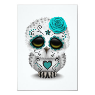 Cute Teal Day of the Dead Sugar Skull Owl White 3.5x5 Paper Invitation Card