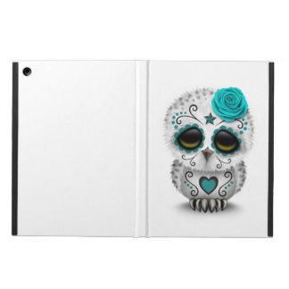 Cute Teal Day of the Dead Sugar Skull Owl White iPad Air Case