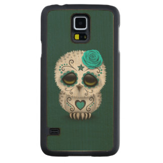 Cute Teal Day of the Dead Sugar Skull Owl Carved® Maple Galaxy S5 Case