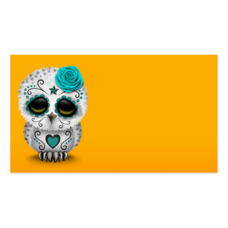 Cute Teal Day of the Dead Sugar Skull Owl Yellow Business Card