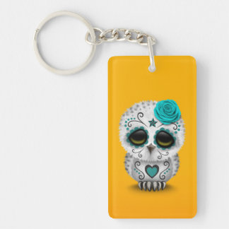 Cute Teal Day of the Dead Sugar Skull Owl Yellow Keychain