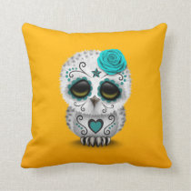 Cute Teal Day of the Dead Sugar Skull Owl Yellow Throw Pillow