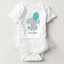 Cute Teal Elephant Baby Girl Monogram Tutu Baby Bodysuit