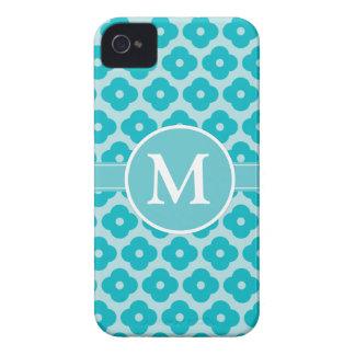 Cute Teal Floral Monogram Pattern iPhone 4 Cases