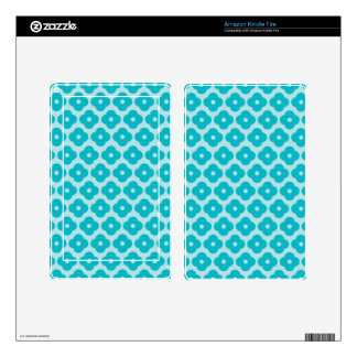 Cute Teal Floral Monogram Pattern Kindle Fire Decal