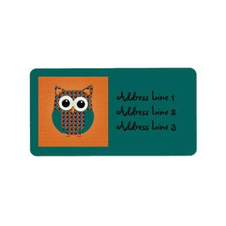 Cute Teal Floral Owl on Teal Address Label