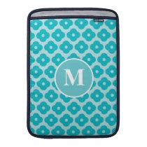 Cute Teal Floral Pattern Monogram MacBook Sleeve