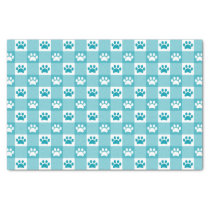 Cute Teal Gingham with Paw Prints Tissue Paper