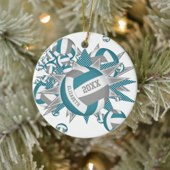 cute teal gray volleyball blowout girls sports ceramic ornament