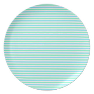 Cute Teal Green and White Stripes Dinner Plate
