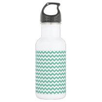Cute Teal Green Chevron Pattern Water Bottle