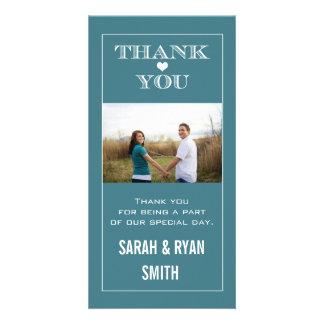 Cute Teal Heart Wedding Thank You Photo Cards