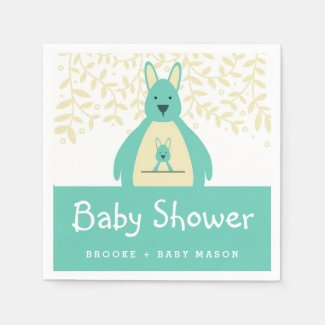 Cute Teal Kangaroo Baby Shower Napkin