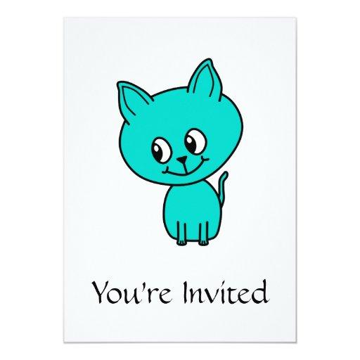 Cute Teal Kitten. Invite