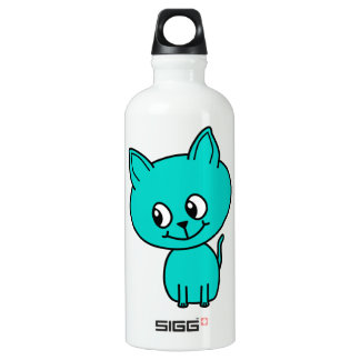 Cute Teal Kitten. Water Bottle