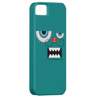 Cute Teal Mustache Monster Emoticon iPhone SE/5/5s Case
