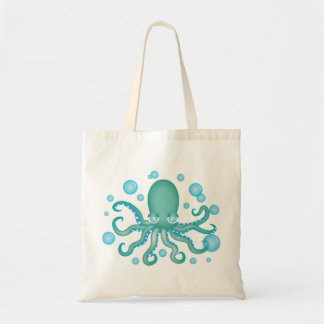 Cute Teal Octopus Budget Tote Bag