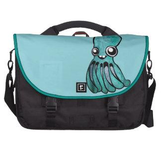 Cute Teal Octopus Laptop Messenger Bag