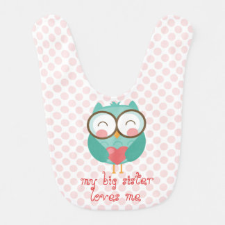 Cute Teal Owl, my big sister loves me (customize) Baby Bib