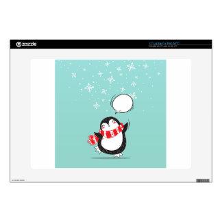 "Cute Teal Penguin Holiday Xmas Christmas Gift 15"" Laptop Skin"