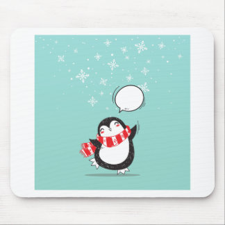 Cute Teal Penguin Holiday Xmas Christmas Gift Mouse Pad
